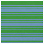 [ Thumbnail: Blue & Green Lines Pattern Fabric ]