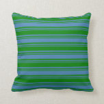 [ Thumbnail: Blue & Green Lines Pattern Throw Pillow ]