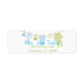 Blue & Green Little Clothes Baby Shower Labels