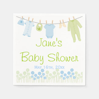 Blue & Green Little Clothes Baby Shower Napkins