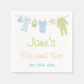 Blue & Green Little Clothes Baby Sip and See Napkin