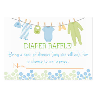 Blue & Green Little Clothes Diaper Raffle Tickets Large Business Cards (Pack Of 100)