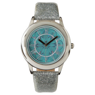 Blue Green Lotus Flower Mandala Wrist Watch