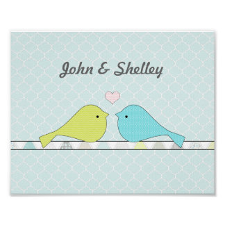 Blue & Green Love Birds personalized with names Poster