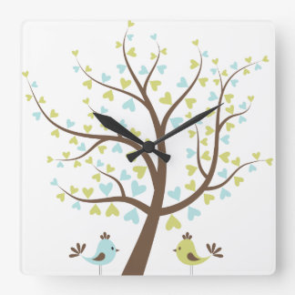 Blue/Green Love Tree Boy's Nursery Square Wall Clock