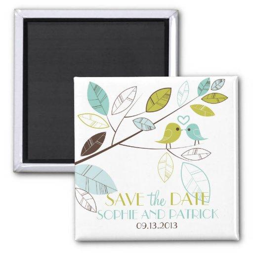 Blue & Green Lovebirds Heart Save the Date Magnet