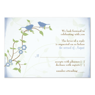 Blue Green Lovebirds Wedding RSVP Reply Card