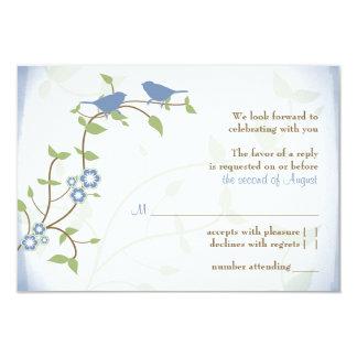 Blue Green Lovebirds Wedding RSVP Reply Card