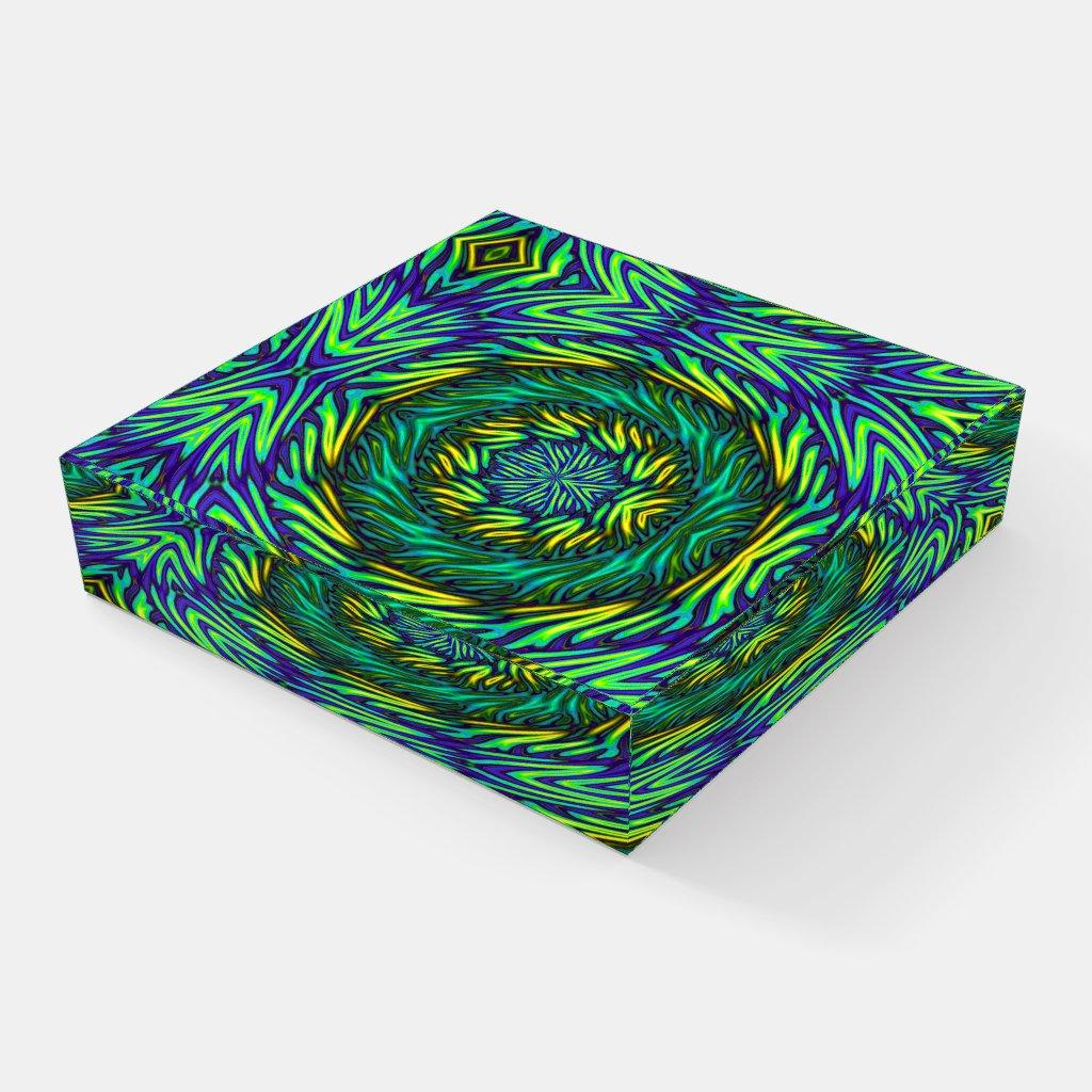 Blue Green Mandala Abstract Glass Paperweight
