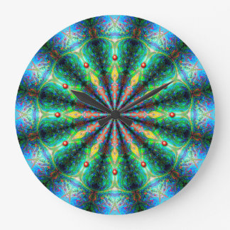 Blue Green Mandala Kaleidoscope Clock