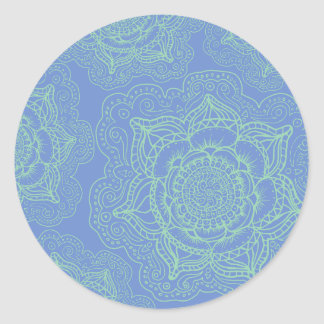 Blue Green Mandala Pattern Classic Round Sticker