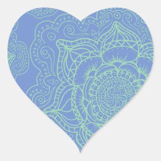 Blue Green Mandala Pattern Heart Sticker