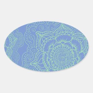 Blue Green Mandala Pattern Oval Sticker