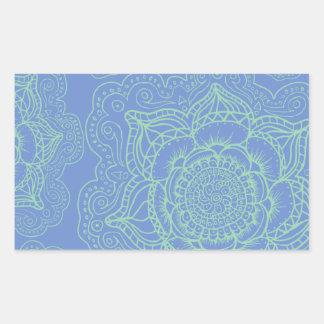 Blue Green Mandala Pattern Rectangular Sticker