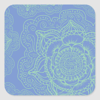 Blue Green Mandala Pattern Square Sticker