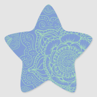 Blue Green Mandala Pattern Star Sticker