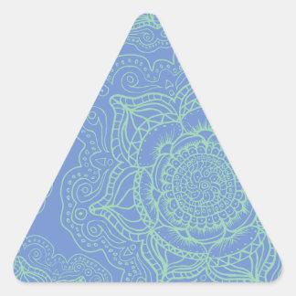 Blue Green Mandala Pattern Triangle Sticker