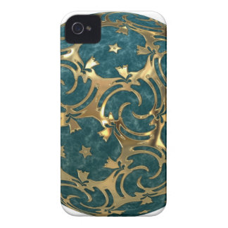 Blue-Green Marble with Gold stars Blackberry Case