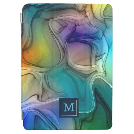 Blue green marbling waves iPad air cover