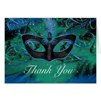 Blue & Green Mask Masquerade Thank You Card