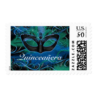 Blue & Green Mask Quinceanera Masquerade Stamp