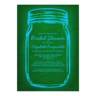 Blue & Green Mason Jar Bridal Shower Invitations Personalized Invitation
