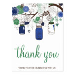 BLUE & GREEN MASON JARS WEDDING THANK YOU POSTCARD