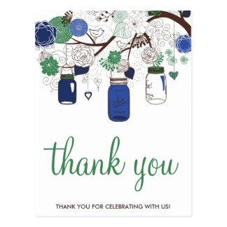 BLUE & GREEN MASON JARS WEDDING THANK YOU POSTCARD