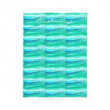 Beach Themed blue/green maui wave pattern Thunder_Cove Fleece Blanket