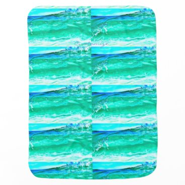 Beach Themed blue/green maui wave pattern Thunder_Cove Receiving Blanket