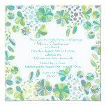"Blue Green Medley Invitation 5.25"" Square Invitation Card"