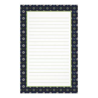 Blue Green Menorah and Star of David Pattern Custom Stationery