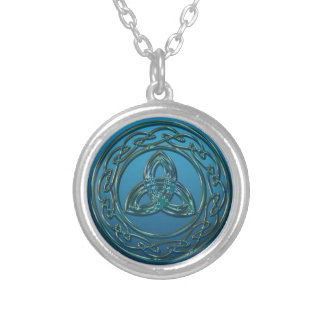 Blue Green Metal Celtic Trinity Knot and Circle Round Pendant Necklace