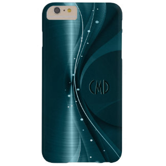 Blue-Green Metallic Retro Dynamic Wave Barely There iPhone 6 Plus Case