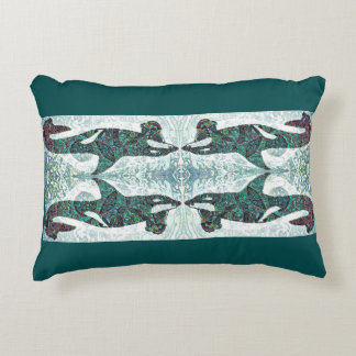 Blue Green Mirrored Orca Design Accent Pillow