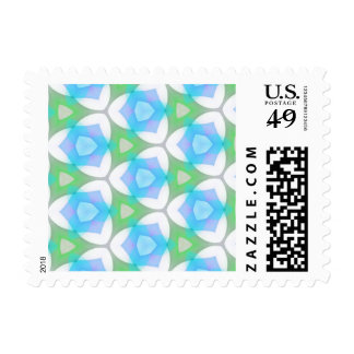 Blue Green Modern Geometric Fractal Stamps