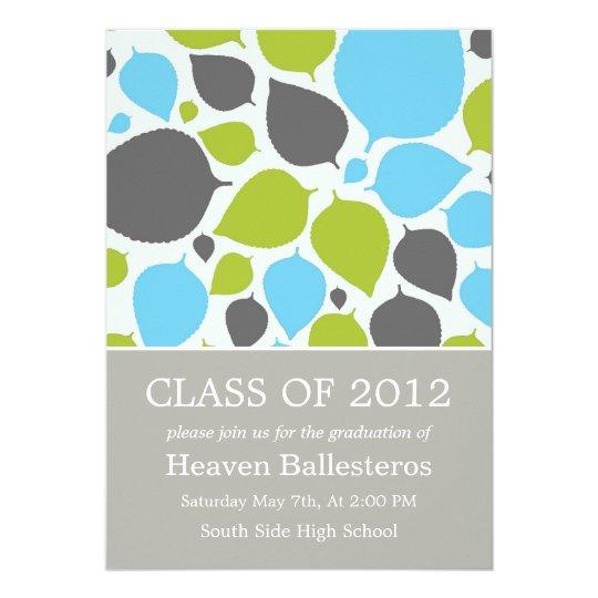 Blue & Green Modern Leaves Graduation Announcement