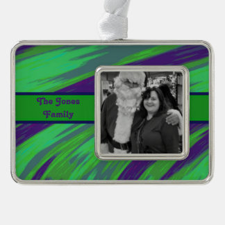 Blue Green Modern Swish Abstract Silver Plated Framed Ornament