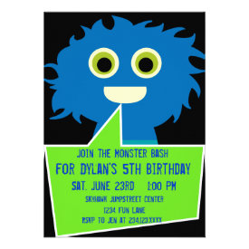 Blue Green Monster Birthday Invitations Kids Party