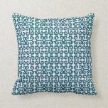 Blue Green Moroccan IKAT Modern Scroll Pattern Throw Pillow