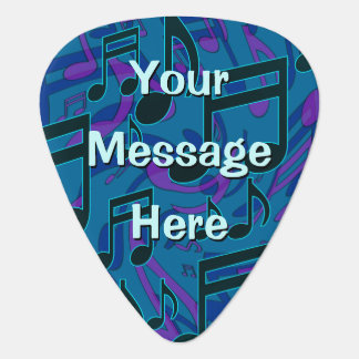 Blue Green Musical Pattern Music Notes Personalize Guitar Pick