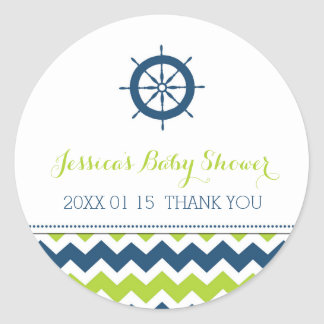 Blue Green Nautical Baby Shower Favor Stickers