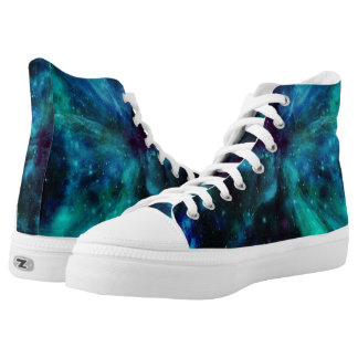 Blue Green Nebula and Planet Hightop ZIPZ Printed Shoes