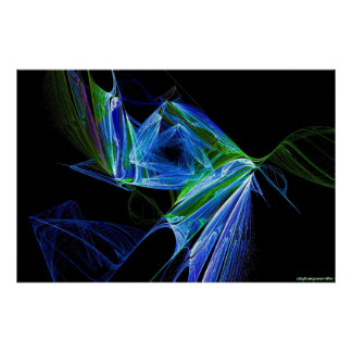 blue green neon flame poster