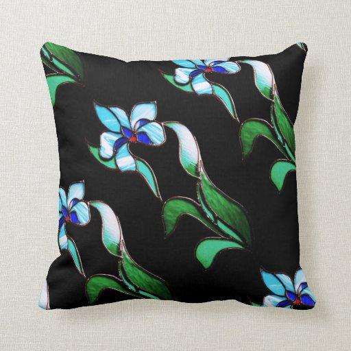 Neon Blue Throw Pillows : Blue green neon flowers on black throw pillow Zazzle