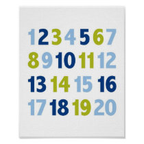 Blue Green Number Nursery Wall Print
