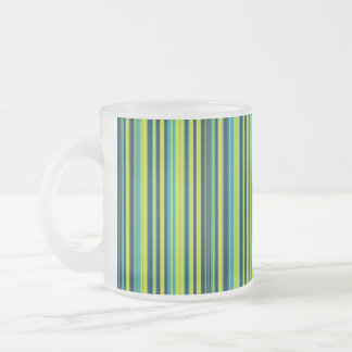 Blue & Green Ocean Stripes Frosted Glass Coffee Mug