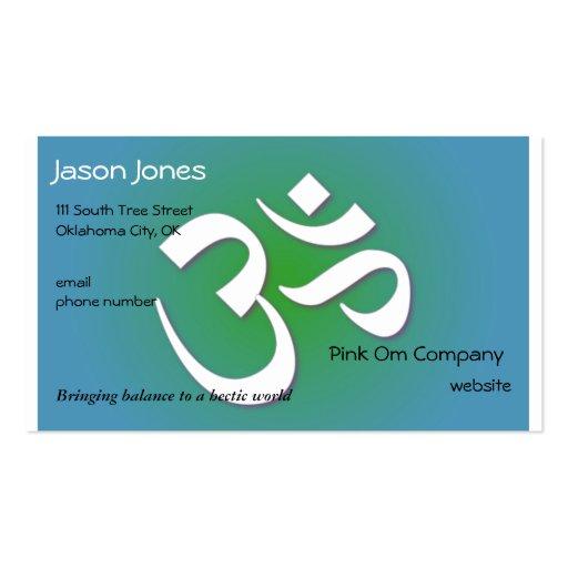 Blue green om symbol business card zazzle for Business card symbols