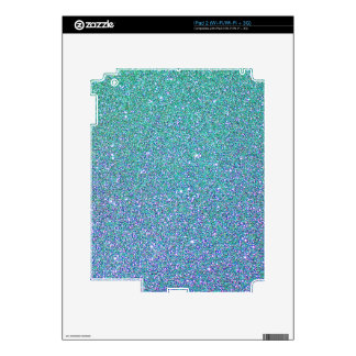 Blue Green Ombre Glitter Background Decals For iPad 2