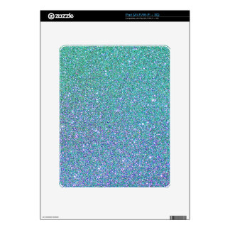 Blue Green Ombre Glitter Background Decals For The iPad